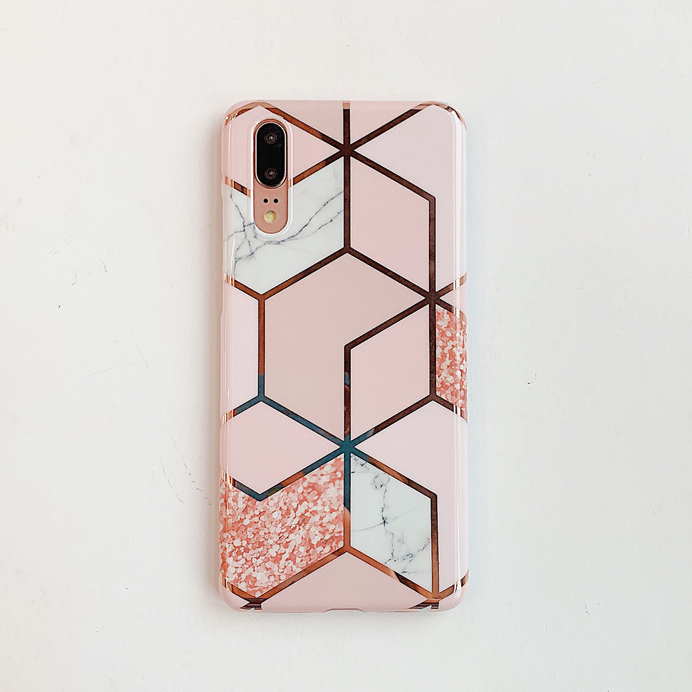 H24341e3fde8c42d19ac93d27914eead4R - LOVECOM Plating Geometric Marble Phone Case For Huawei P40 Pro P30 P20 Lite Pro Mate 30 20 Lite Glossy Soft IMD Phone Back Cover