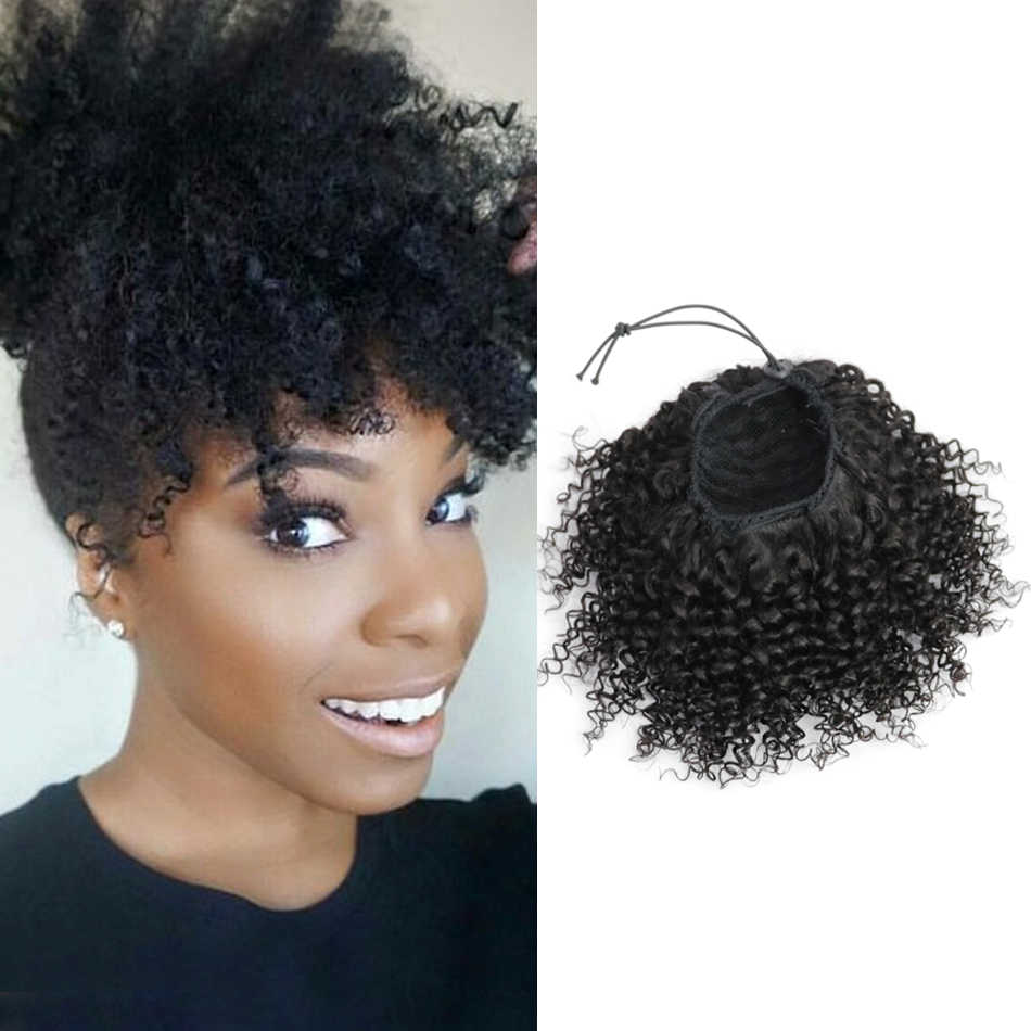 "Isheeny Afro Kinky Curly Ponytail Extensions Clip-Ins 8""-18"" Natural Black Brazilian Remy Human Hair Adjustable Pony Tail"
