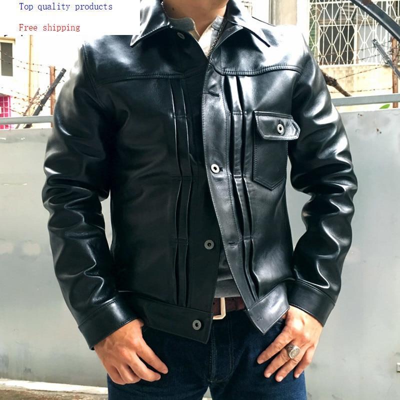 Men's Genuine Leather Jacket Spring Autumn Jacket Men Horsehide Jackets Short Coat Blouson Cuir Homme YY324