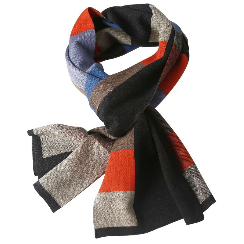 2019 Cashmere Knit Scarf European And American Tide Men's Scarf Korean Plaid Scarf Fashion Warm Street Style  Adult