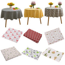Overlay Table-Cover Linen Christmas Round Cotton Wedding-Decors Printed Dinning 150cm