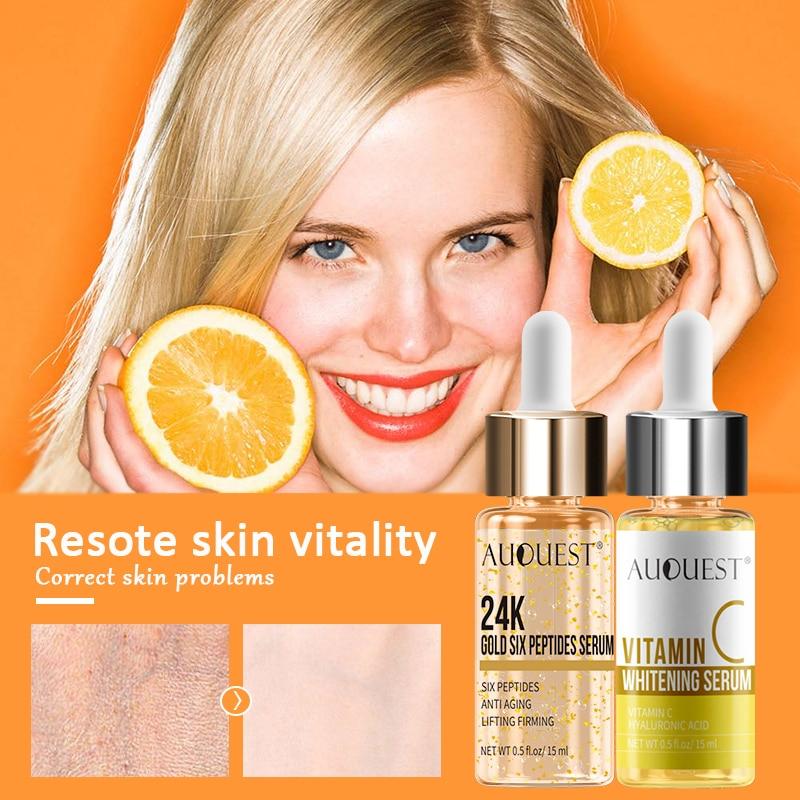 AuQuest Vitamin 24K Gold Face Serum Whitening Serum Facial Wrinkle Remover Anti Aging Acido Hialuronico Moisture Face Care 2PCS
