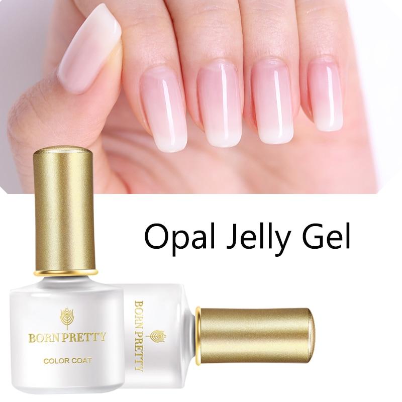 BORN PRETTY Opal Jelly Gel 6ml Pink Jelly Gel Polish Base Coat No Wipe Top Coat White Soak Off Nail UV Gel Varnish 1 Bottle
