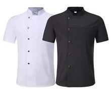 Hat Work-Jacket Chef-Uniform Apron Short-Sleeve Hairdressers Salon Stand-Collar Food-Service