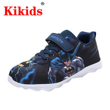 2020 dziecięce obuwie superbohaterowie wzór batmana dla chłopców dziewczęta maluch chłopcy miękkie buty Slip-on mokasyny mieszkania wygodne buty tanie tanio RUBBER Pasuje prawda na wymiar weź swój normalny rozmiar 0-1 M 10 m 12 m 16 M 17 M 18 m 19 M 21 m 22 M 23 M 24 m 25 M