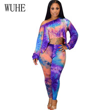 WUHE Women Vintage Hollow Out Playsuits Female Bodycon Jumpsuits Fashion Tie Dyeing Print Two Pieces Sets Long Sleeve