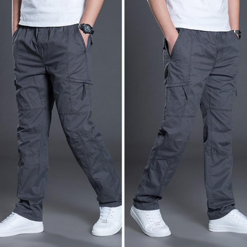 Military Cargo Pants Plus Size Cotton Trousers Men 2020 Men's Straight-fitting Casual Baggy Pants Multi-pockets Streetwear Men