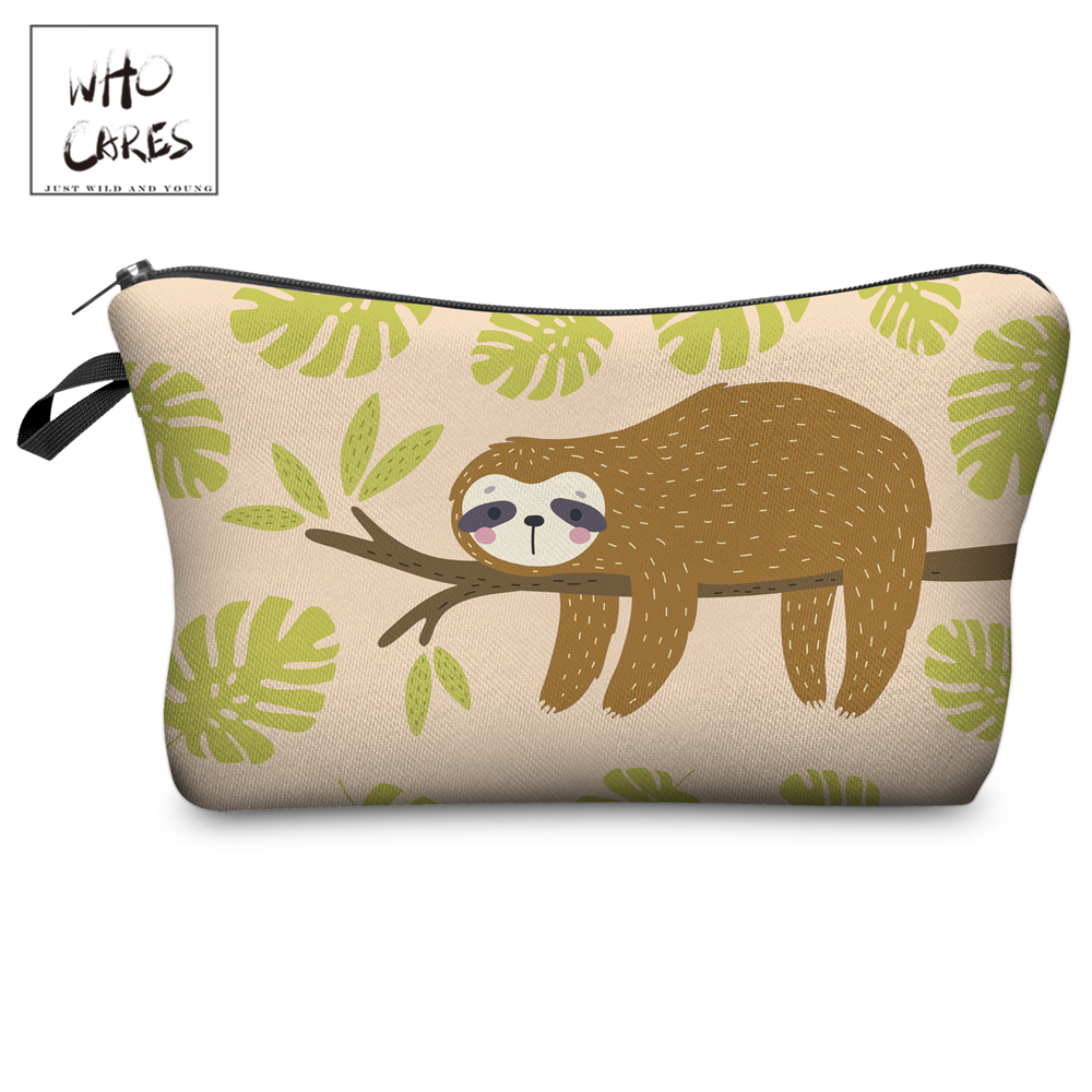 Who Cares Makeup Bags Women Cosmetic Bag Sleepy Sloth Printing Oiletry Bag Cosmetics Pouchs For Travel Make Up Bag
