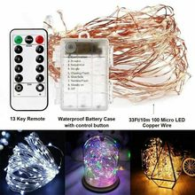 100LED Fairy Lights Battery Operated 10M 5M 20M String Lights Remote Control Timer Twinkle String Lights 8 Modes Firefly Lights
