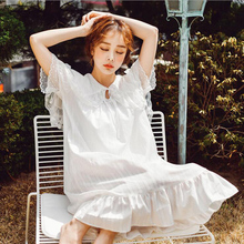 100% cotton white color long style women summer nightdress solid short sleeves princess lace vintage nightgown new pyjamas women s summer mesh double layer solid color lace princess short sleeved nightdress large size home service d180111
