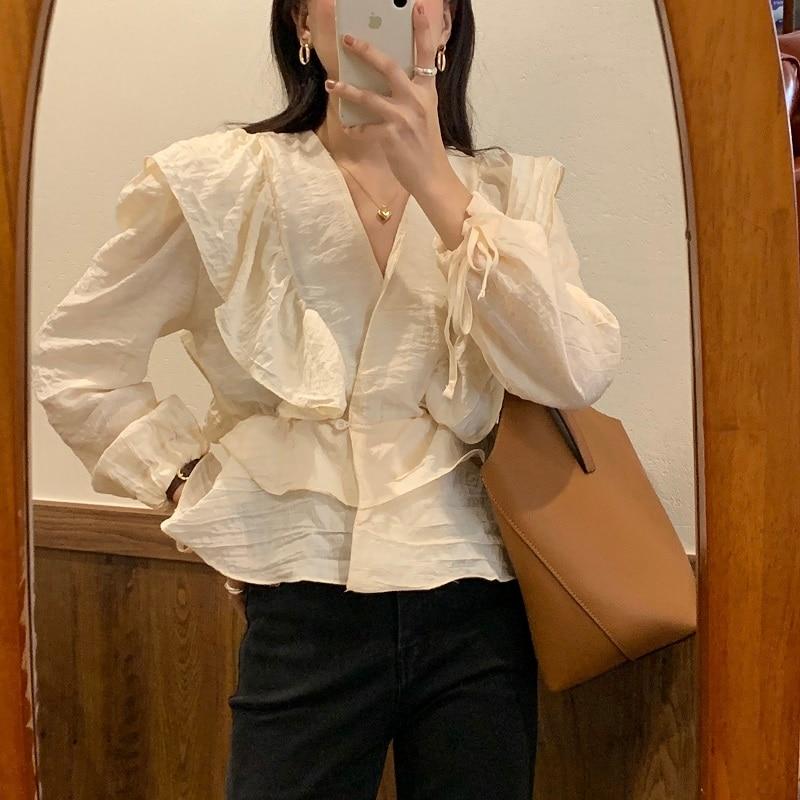 Alien Kitty Ladies Blouses 2020 New Korean OL Vintage V-neck Long Sleeve Ruffles Stitching Elegant Top Ladies Loose Shirt Women