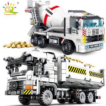 HUIQIBAO Technic betoniarka wywrotka klocki inżynieria zestaw klocków samochodowych edukacyjne DIY zabawki dla dzieci chłopców tanie i dobre opinie HUIQIBAO TOYS CN (pochodzenie) Unisex 6 lat Mały budynek blok (kompatybilne z Lego) 6944811380453 Certyfikat Truck Building Blocks
