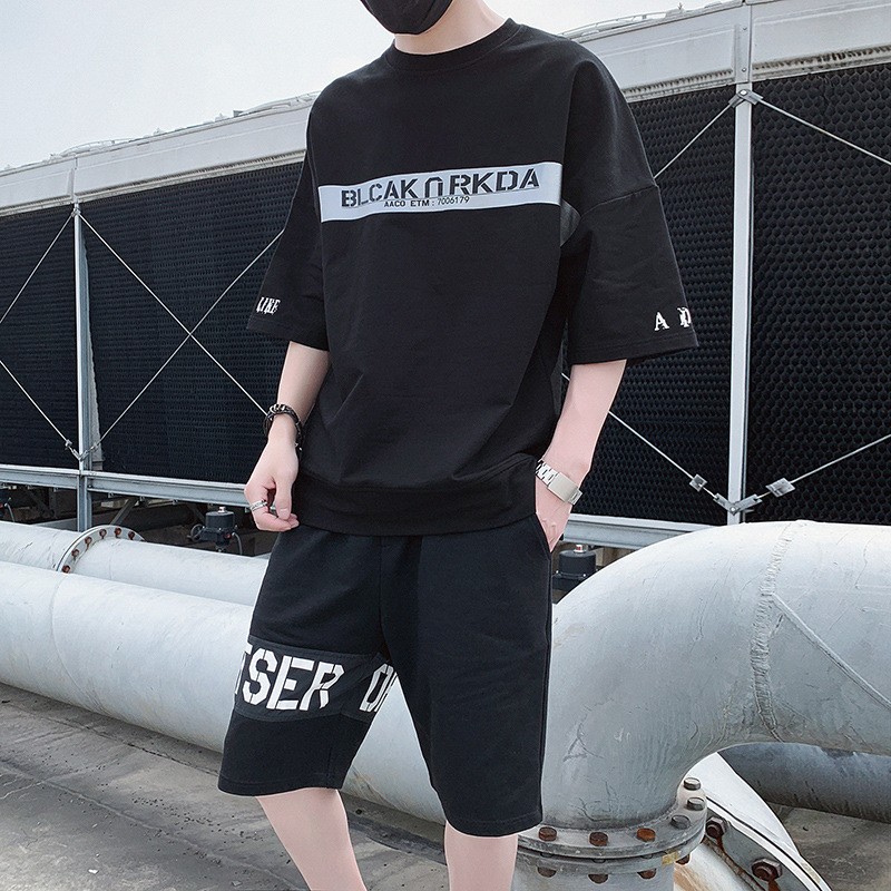 2019 Summer New Style Men Casual Fashion Printed Cool Short Sleeve T-shirt Shorts Set Fashion DS399