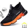 Рабочие кроссовки легкие Для мужчин рабочая обувь Безопасность сапоги анти-прокол рабочие ботинки Для мужчин анти-Убойные промышленные бо...