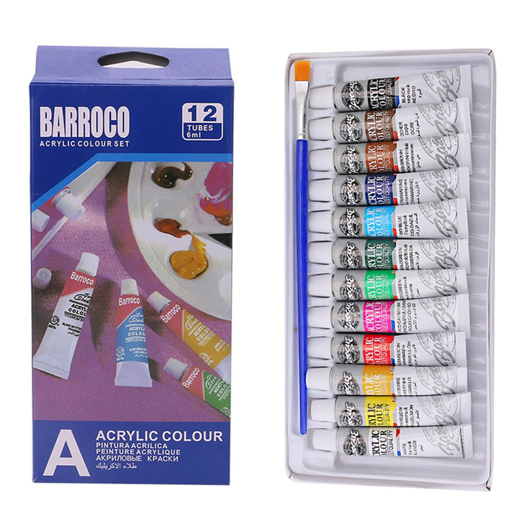 6ml 12 Colors Professional Acrylic Hand Painted Paints Wall Painting Bright Color Textile Painting Art Supplies Free Brush