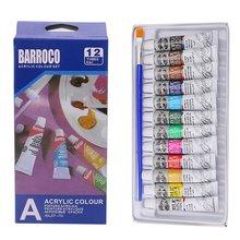 6ml 12 colores profesional acrílico pintado a mano pinturas de pared pintura textil de Color brillante suministros de arte cepillo gratis