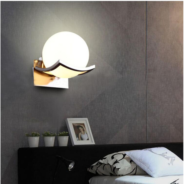 Free Shipping Unique Creative Metal Glass Ball Wall Lamp Led Wall Lights for Passage Corridor Bedroom - Free Shipping Unique Creative Metal Glass Ball Wall Lamp Led Wall Lights for Passage Corridor Bedroom Bedside Lamp AC85-265V | RadiantHomeLighting