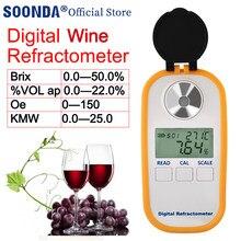 Digitale Wijn Refractometer 0.0-22.0% Vol Wijn Alcohol Meter 0-50% Brix Meter Wijn Alcohol Tester Alcohol Inhoud vol Oe Kmw Tester