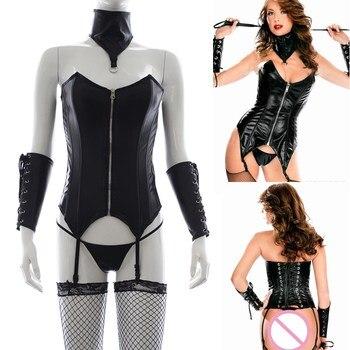 Erotische Dessous Leder Body für Frauen Fetisch Babydoll Körper Bondage Nachtwäsche  1