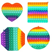 Tamanho grande quadrado brinquedos antiestresse colorido push bubble fidget brinquedo sensorial stress reliever para autismo adulto crianças presente