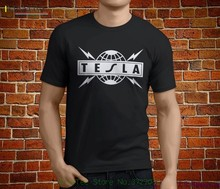 Hot Tesla Metal Rock Band Legend Mens Black T-shirt Size S - 3xl Sale 100 % Cotton T Shirt Men Lastest Light цена