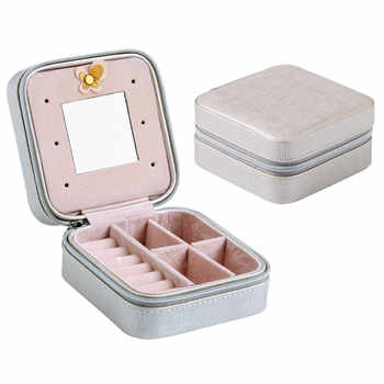 1pc multi-function portable jewelry box with mirror travel small mini jewelry bag earrings earrings ring storage box