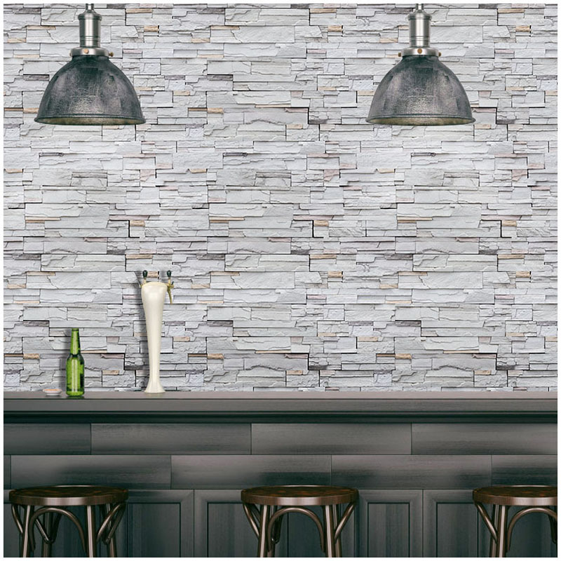 Vintage Imitation Gray Brick Wallpaper 3D Self-adhesive Wall Papers Home Decor Cafe Restaurant Hotel House Decor Wall Stickers