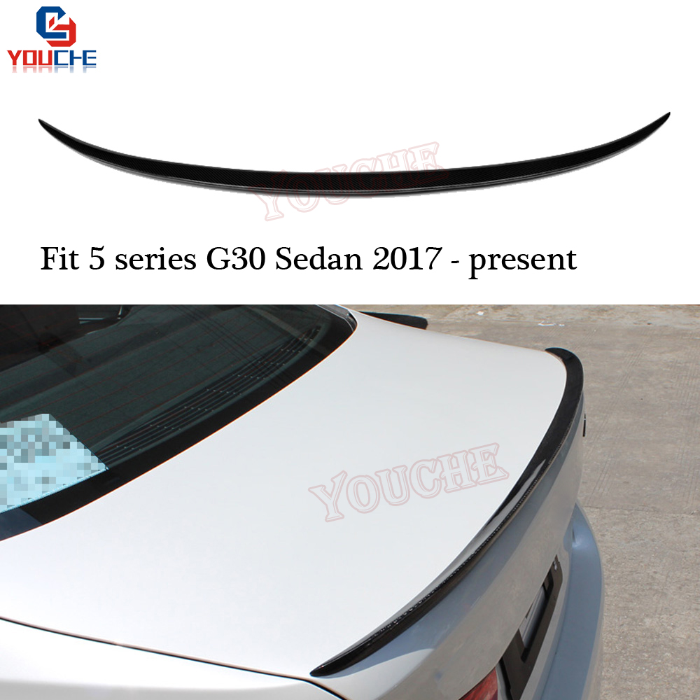 M5 Style Small Carbon Fiber Rear Spoiler For BMW <font><b>G30</b></font> <font><b>520i</b></font> 530i 540i M550i M5 4-door Saloon 2017 + Trunk Boot Lid Wing image