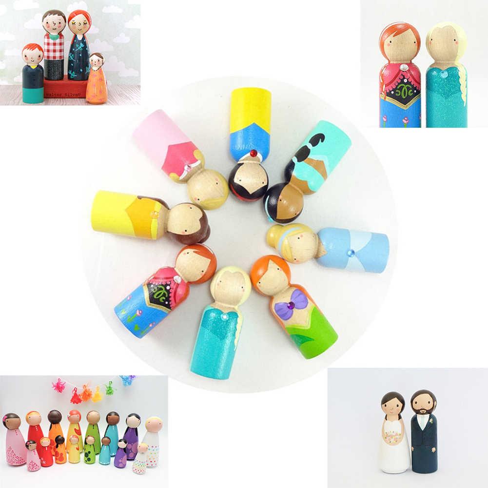 1 pieza madera niño niña figura muñeca modelo DIY pintura Graffiti Educación Niños juguete nuevo