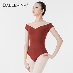 Image 4 - Bailarina ballet leotardo mujeres entrenamiento profesional yoga malla manga corta gimnasia leotardo danza traje Adulto 3582