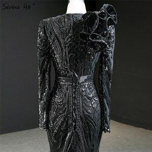 Image 5 - Dubai preto o neck manga longa vestidos de noite 2020 sereia lantejoulas miçangas luxo formal vestido sereno hill hm67116