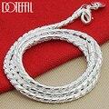 DOTEFFIL 925 Sterling Silber 3mm Schlange Kette Halskette Frau Mann Mode Einfache 20 Zoll Kette Schmuck