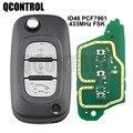 Пульт дистанционного управления QCONTROL для автомобиля с 3 кнопками, подходит для Renault Scenic III, Megane III, Fluence 2009-2015 с чипом ID46 pcf7961 и 433 МГц