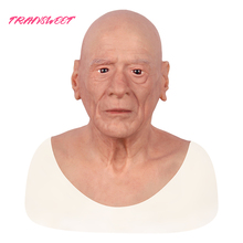 New 2019 Realistic Silicone Male Mask Old Man Halloween Full Head Masquerade Cosply