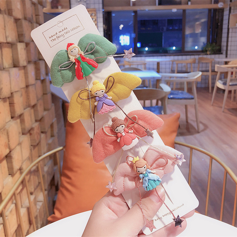 Korean Children's Cute Cartoon Hair Accessories Creative Beautiful Colorful Angel Duckbill Clip Sweet Girl Princess Accessories