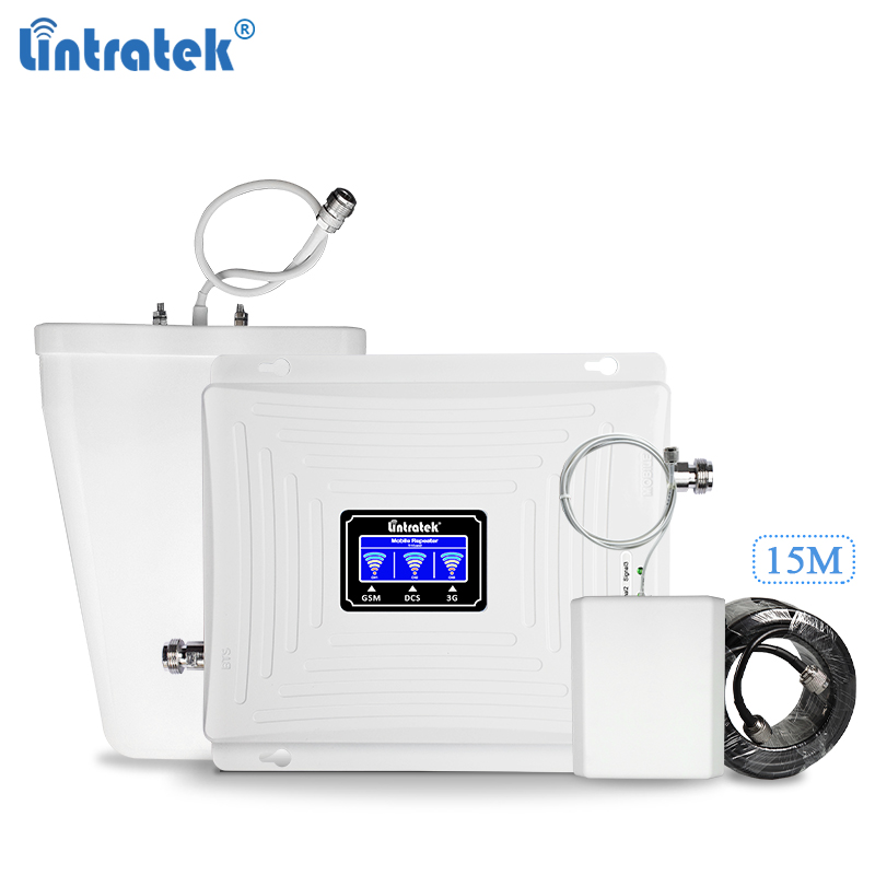 LintratekSignal Booster 900 1800 2100Mhz GSM Mobile Signal Repeater 2G 3G 4G LTE Cellphone Amplifier Triband Booster Full Kit title=
