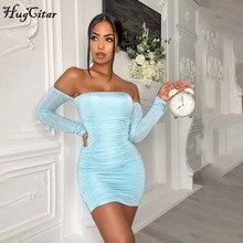 Hugcitar 2020 детское голубое сексуальное мини-платье с вырезом лодочкой и длинными рукавами, с рюшами, Осень-зима, женская модная уличная одежда, ...
