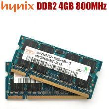 Memória ddr2 4 gb PC2-6400 800 mhz do portátil de hynix ram 4g 800 6400 s 200-pino SO-DIMM do caderno