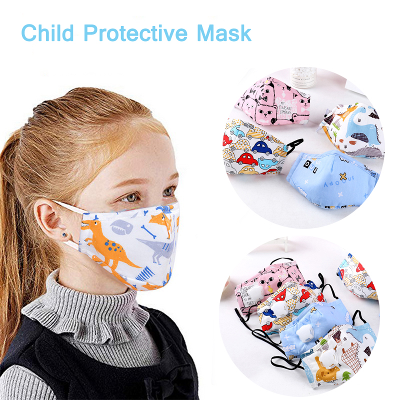1Pcs PM2.5 Children Mouth Mask Respirator Valve Cartoon Face Mask Thicken Smog Mask Warm Dust Mask Fits 2-15 Years Old Kids Fftp