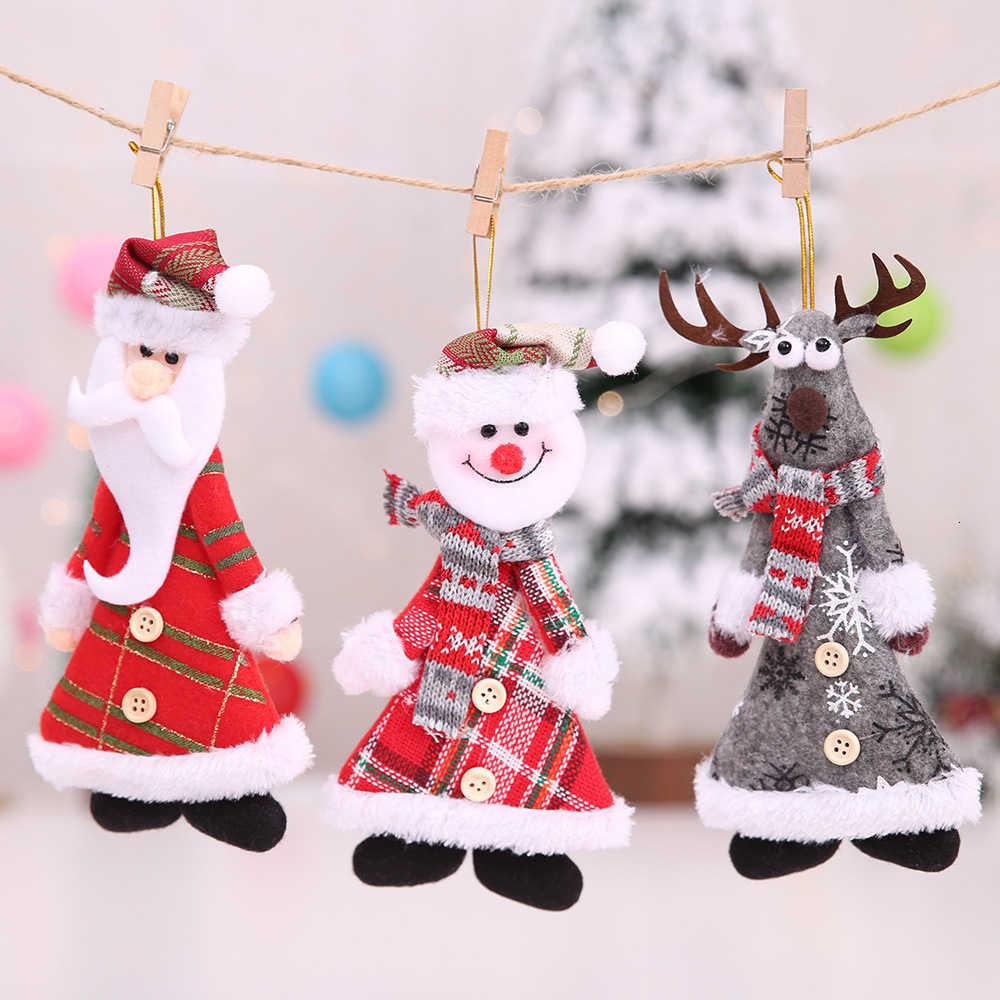 2020 neue Jahr Frohe Weihnachten Ornamente Weihnachten Geschenk Santa Claus Schneemann Baum Spielzeug Puppe Hängen Dekorationen Für Startseite Xmas