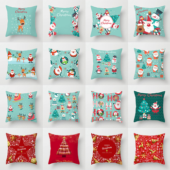 45*45 Christmas Cushion Cover Merry Christmas Decorations for Home Santa Reindeer Pillow Cases Xmas Gifts New Year 2021 Navidad hot sale merry christmas pillow case square pillow cases new year cartoon pillow covers size 45 45cm