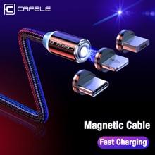 Купить с кэшбэком CAFELE LED Magnetic USB Cable Magnet Plug USB Type C Micro USB IOS Plug for iPhone Xs Xr X 8 7 6 Plus 5 SE huawei xiaomi samsung