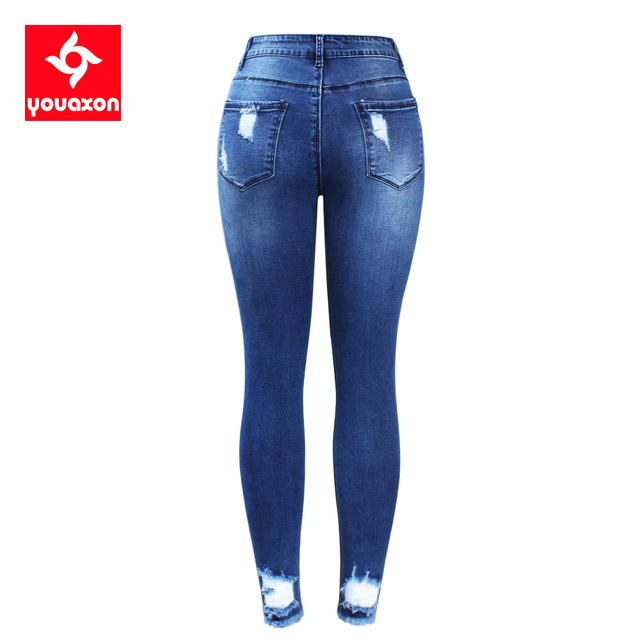 Youaxon New Ultra Stretchy Blue Tassel Ripped Jeans Woman Denim Pants Trousers For Women Pencil Skinny Jeans 2