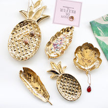 Ceramic Golden Tray Gold Dining Plate Leaf Pineapple Jewelry Storage Tray Decorative Fruit Cake Snack Plate Kitchen Tableware