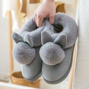 Image 4 - Zimowe kapcie damskie 2020 Fluff Suede utrzymuj ciepłe kapcie damskie buty śliczne uszy królika buty klapki damskie