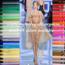 Tissu Organza en soie Pure, couleur unie, 100cm x 114cm, gaze, pour mariage
