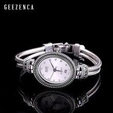 925 Sterling Thai Zilver Ingelegd Blauw Korund Armband Horloge Vrouwen Trendy Vintage Japan Beweging Quartz Horloge Armbanden Sieraden