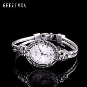 Image 1 - 925 Sterling Thai srebrny inkrustowane niebieski korund bransoletka zegarka kobiet Trendy rocznika japonia zegarek kwarcowy bransoletki biżuteria