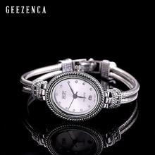 925 סטרלינג תאילנדי כסף משובץ כחול קורונדום צמיד שעון נשים טרנדי Vintage יפן תנועת קוורץ שעון צמידי תכשיטים