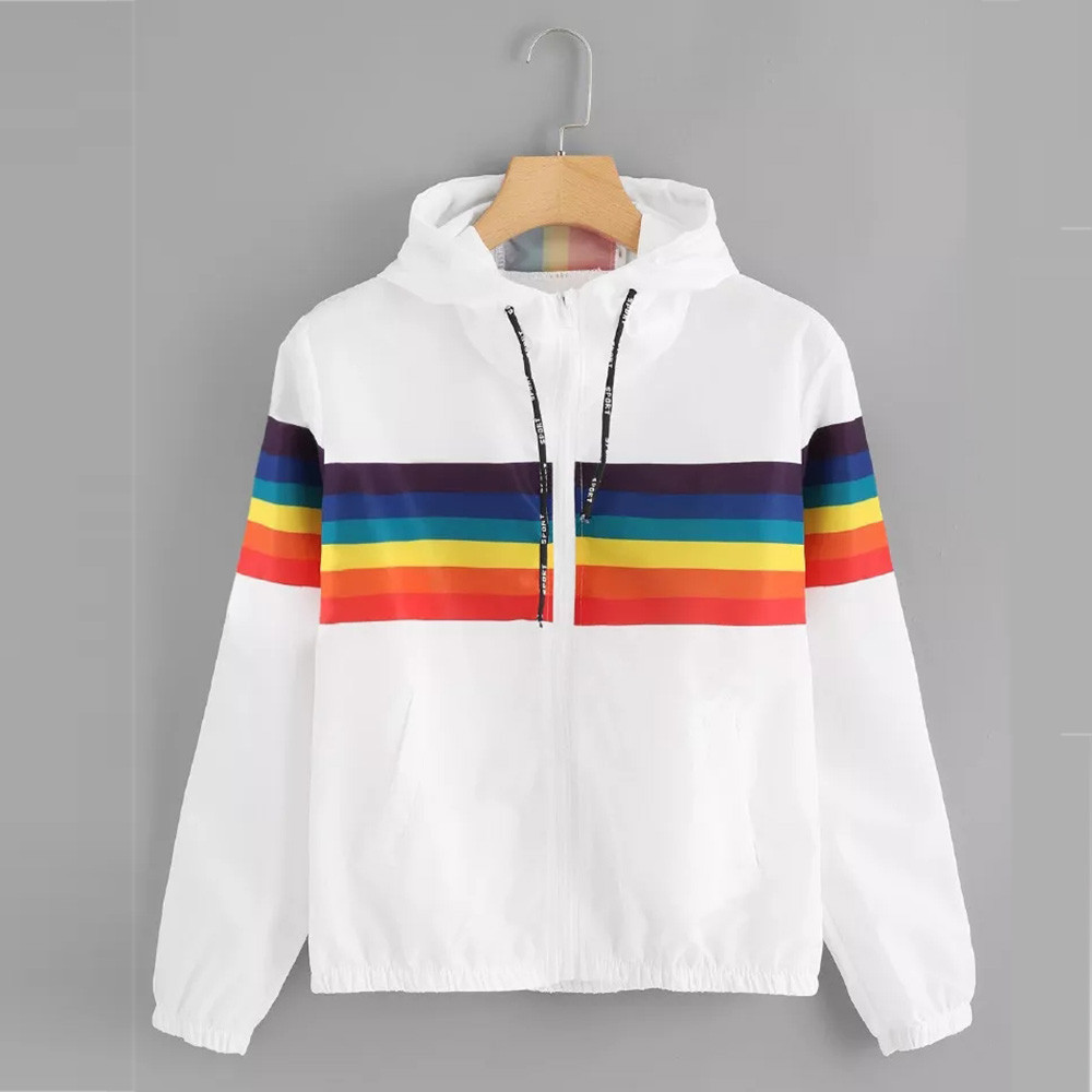 SAGACE Autumn Fashion Windbreaker Jacket Women Rainbow Color Zipper Pockets Coats Casual Long Sleeves Feminino Basic Jackets